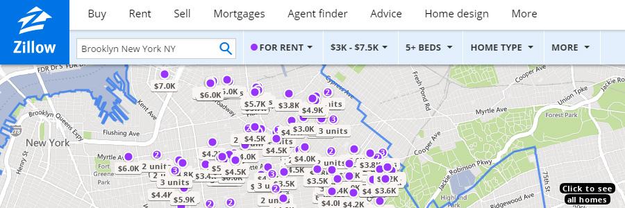 Zillow apartment rentals website