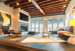 One of the most beautiful rooms in the rental, Ogden Avenue's lounge area provides 180 degree views of the city