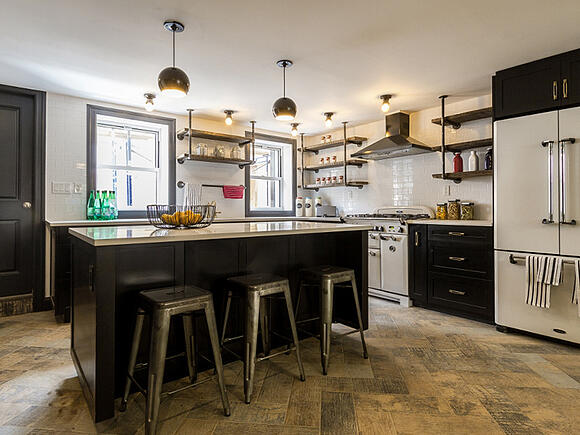 Williamsburg Renovation Industrial Kitchen Island