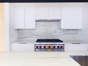 SoHo Loft Renovation Marble Backsplash