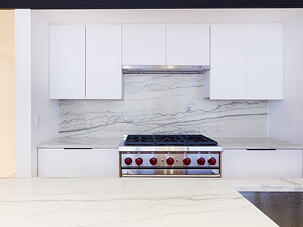 SoHo Loft Renovation Marble Backsplash