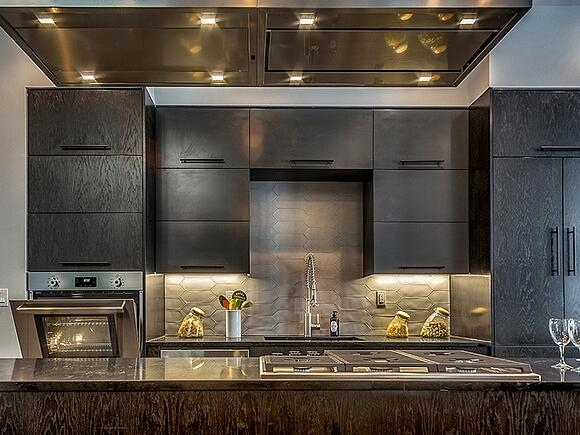 sleek black kitchen