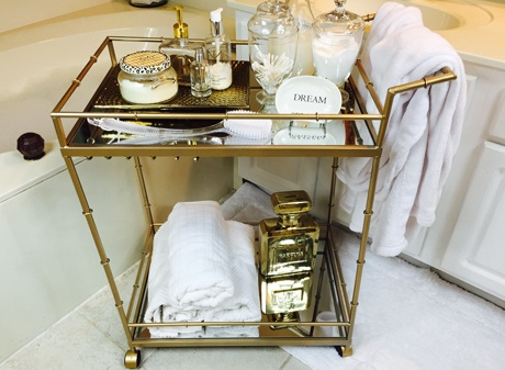 Gold mobile vanity bar cart