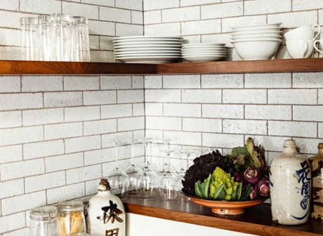 Floating wooden corner kitchen shelves