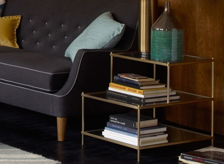 Tiered side table with storage