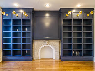 Blue bookshelf