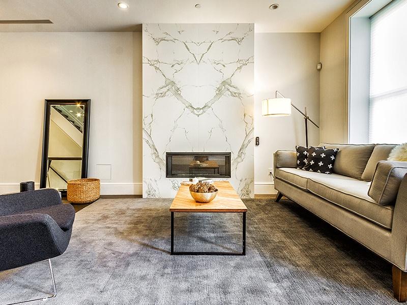 Stone-clad fireplace