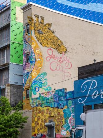 Jersey City Mural titled Jersey City Giraffe by Catherine Hart