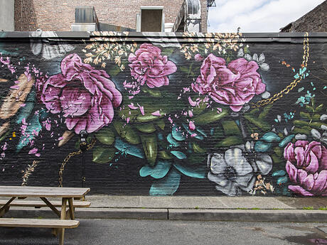 Jersey City Mural titled Untitled by Nate Frizell with Gold Chains and Bouquets