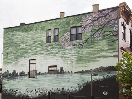 Jersey City Mural on Newark Avenue titled Cherry Blossoms and Train Tracks by Blair Urban