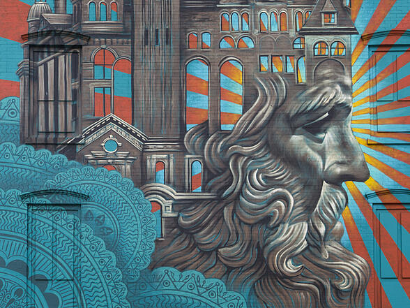 Jersey City Mural on Newark Avenue titled Jersey City Crown by Beau Stanton