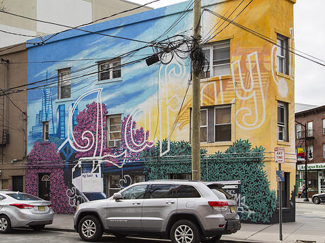Jersey City Mural on Newark Avenue titled Lafayette Rising