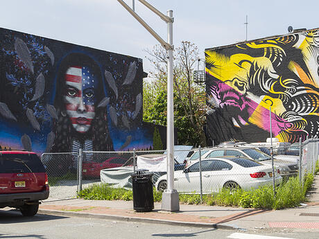 Jersey City Mural on Tonnelle Avenue titled Pursuit of Libery by Shaun Edwards aka Pawn