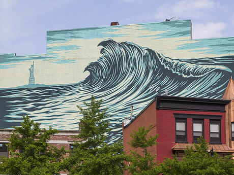 Jersey City Mural on Newark Avenue titled The Jersey City Wave