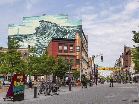 Jersey City Mural on Newark Avenue titled The Jersey City Wave by Shepard Fairey