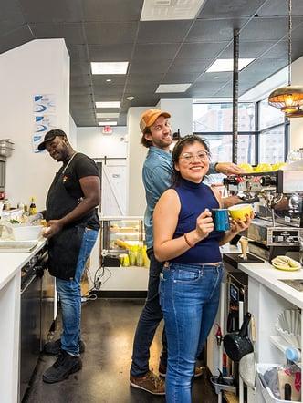Sam De burgh and Maggie's Farm Espresso Crew Working