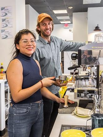 Sam de Burgh and Maggie's Farm Espresso Barista Preparing Coffee for Customers