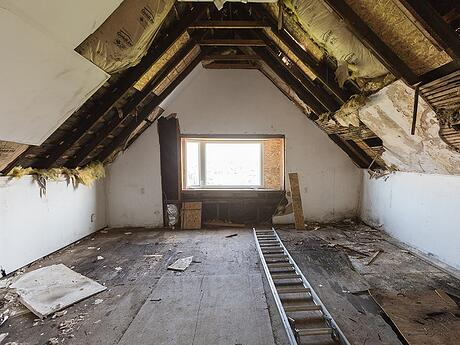 unfinished attic before