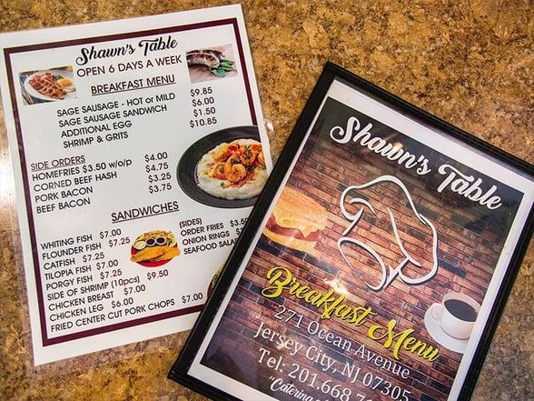 shawns table menu