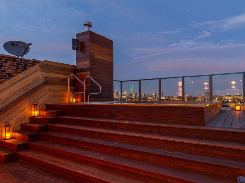 roof pool at night