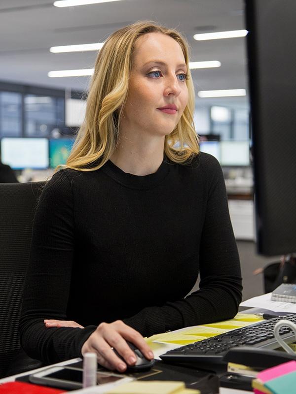 Kat at desk