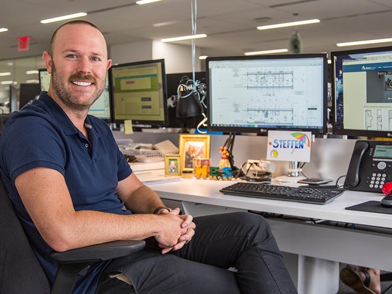 Steffen at his desk