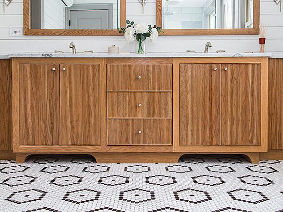 398 State Street Penny Tile in Master Bathroom
