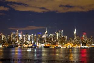 Colorfully lit Manhattan skyline