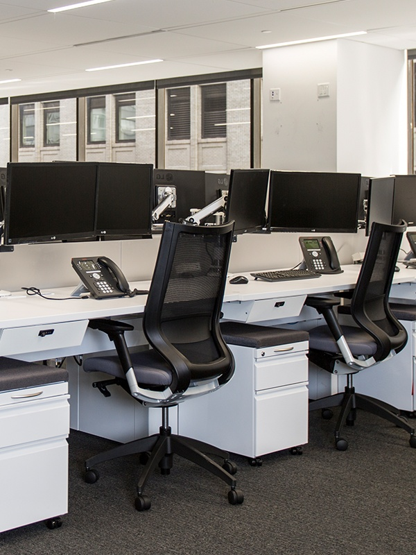 desk chairs and monitors