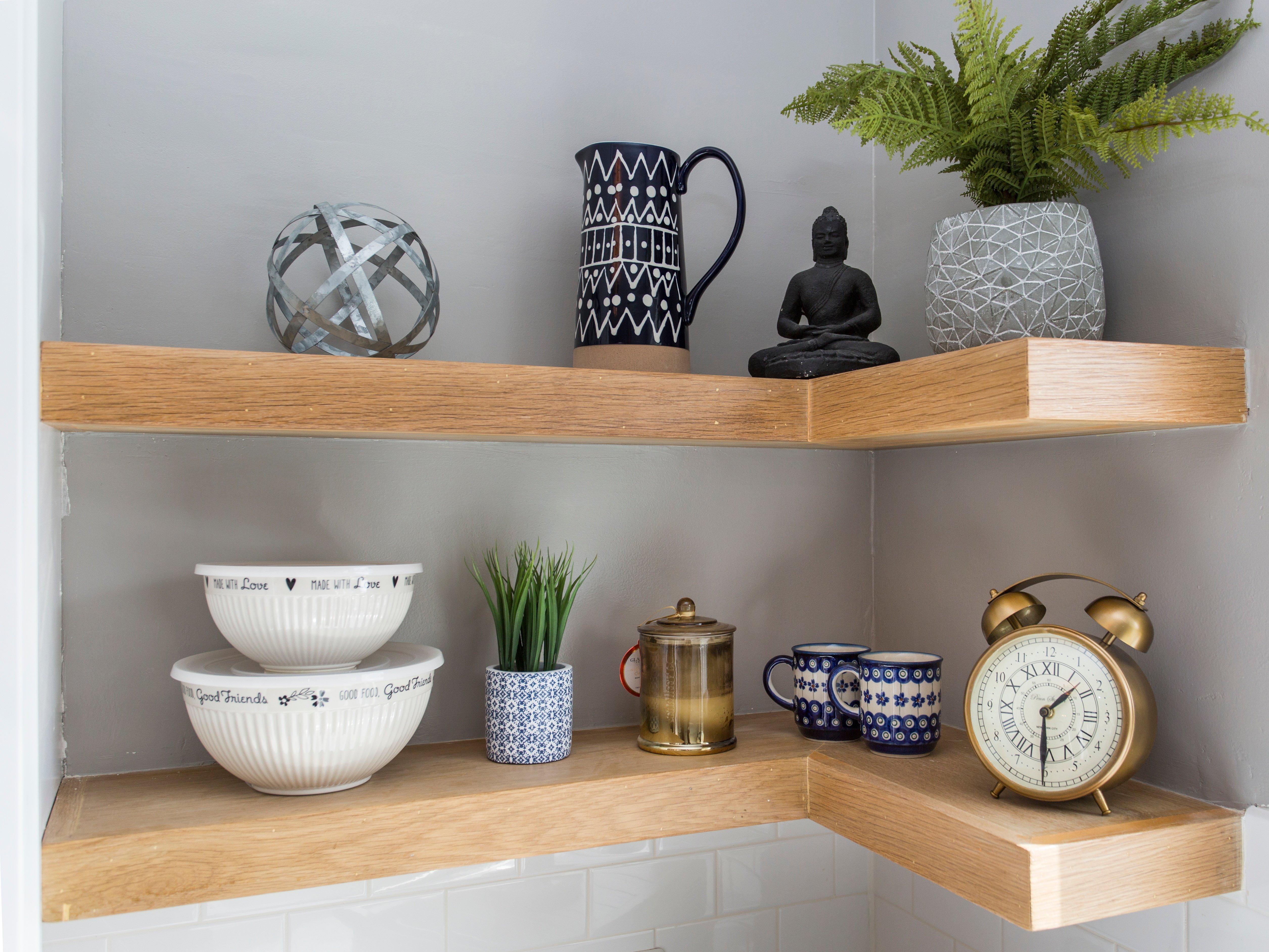 oak corner shelves